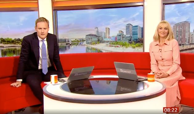 Dan Walker and Louise Minchin watched the incident play out live on