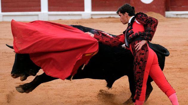 El diestro Daniel Luque con su segundo toro en el festejo de la feria taurina de