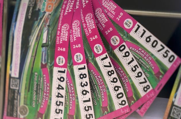 Τα λαχειοφόρα εισιτήρια προς πώληση εκτίθενται στην Πόλη του Μεξικού.