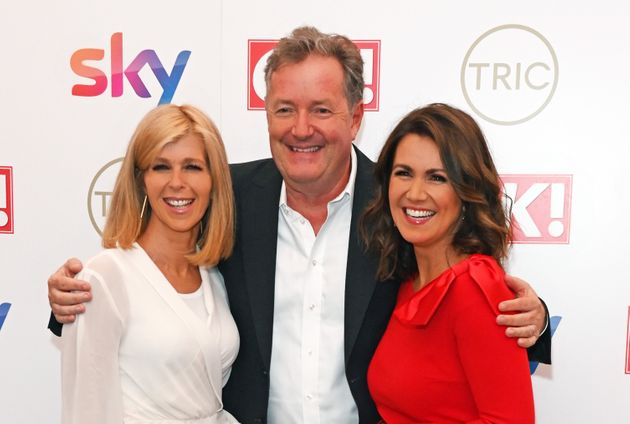 Piers with former colleagues Susanna Reid and Kate Garraway on the red