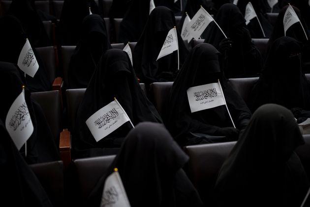 Από την διαδήλωση υπέρ των Ταλιμπάν, στο πανεπιστήμιο της Καμπούλ, 11 Σεπτεμβρίου 2021. (AP Photo/Felipe Dana)