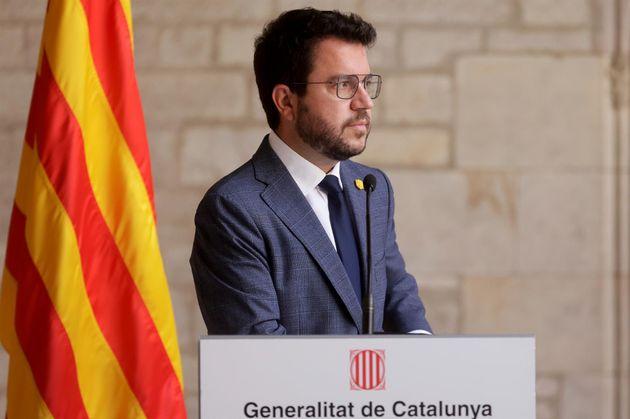 El presidente catalán, Pere Aragonès, este martes en el Palau de la