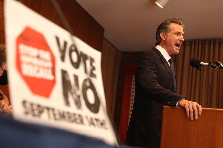California Gov. Gavin Newsom (D) speaks to union workers and volunteers on Election Day at the IBEW Local 6 union hall on Sept. 14, 2021, in San Francisco.