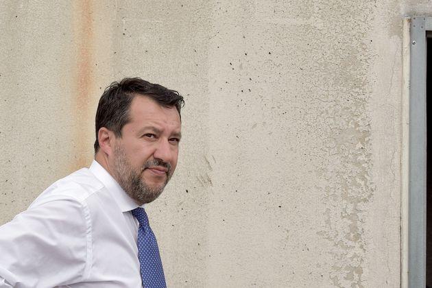 ROME, ITALY - SEPTEMBER 10: Lega leader Matteo Salvini visited the suburban district of Tor Bella Monaca...
