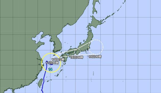 台風の予想進路図(16日12時現在)気象庁の公式サイトより