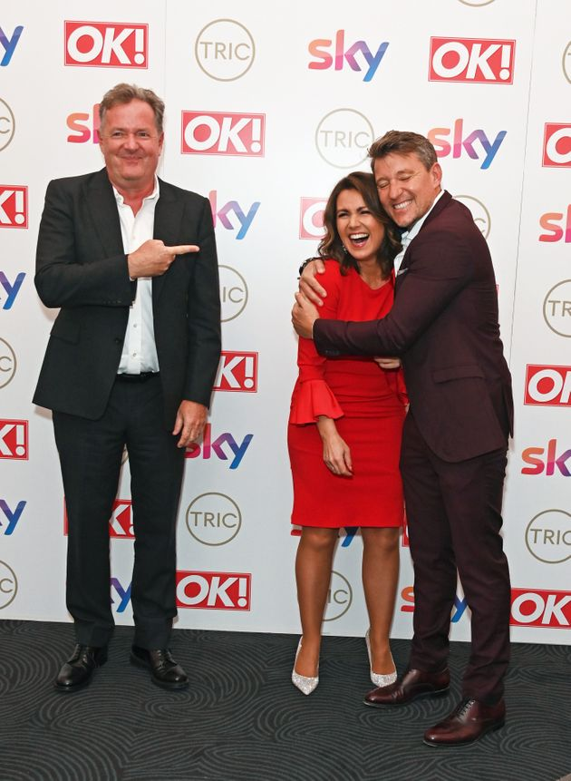 (L-R) Piers Morgan, Susanna Reid and Ben Shephard attend The TRIC Awards