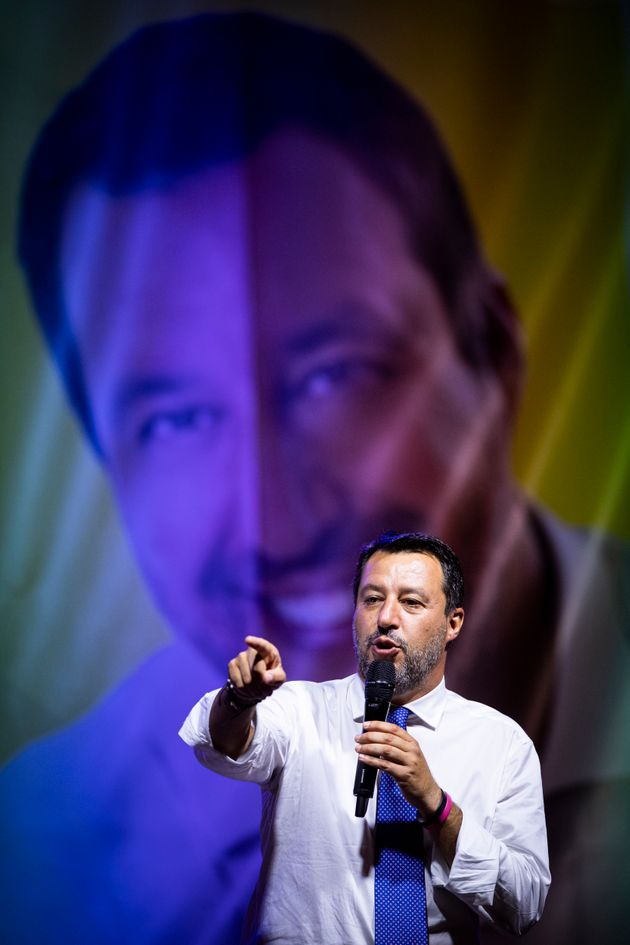PIAZZA SOLFERINO, TURIN, ITALY - 2021/09/09: Matteo Salvini speaks during an event part of Paolo Damilano...