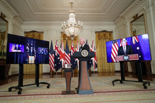 U.S. President Joe Biden delivers remarks on a National Security Initiative virtually with Australian...