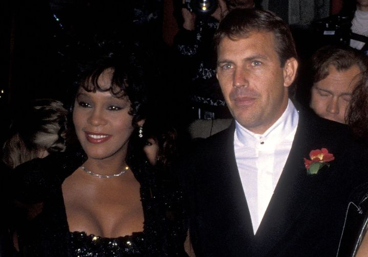 """Whitney Houston and Kevin Costner at the premiere for """"The Bodyguard"""" in 1992."""