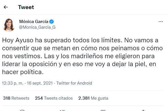 El tuit de Mónica