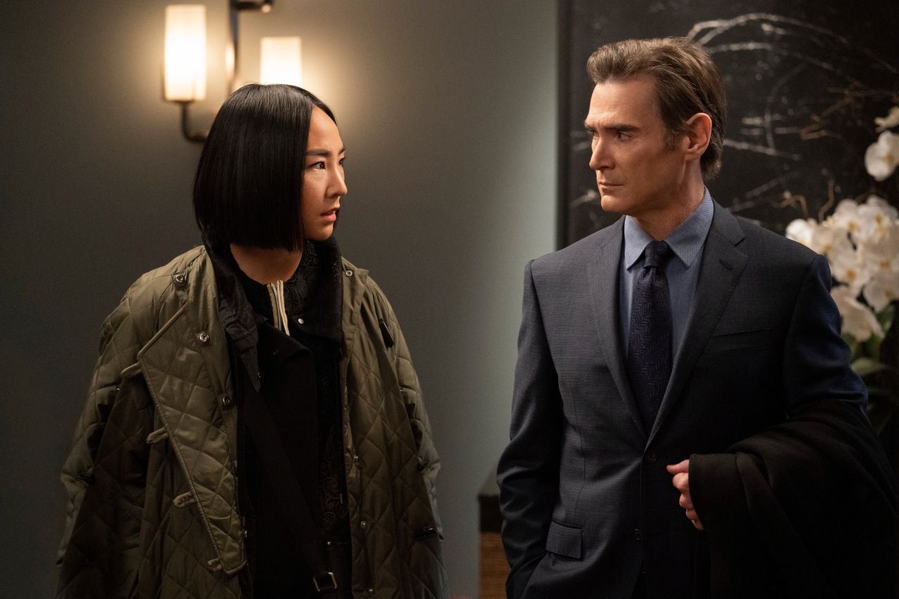 """Greta Lee and Billy Crudup in Season 2 of Apple TV+'s """"The Morning Show."""""""