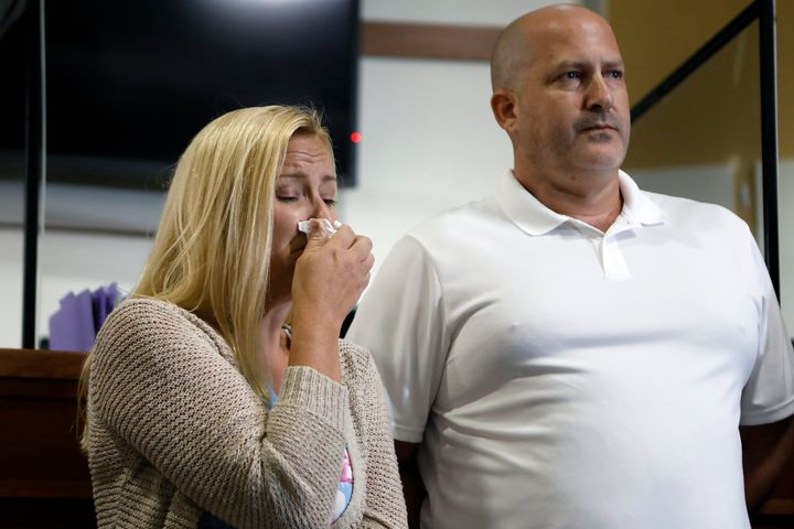 Gabby Petito's stepmother, Tara Petito, and father, Joe Petito, during a news conference Thursday about her disappearance.