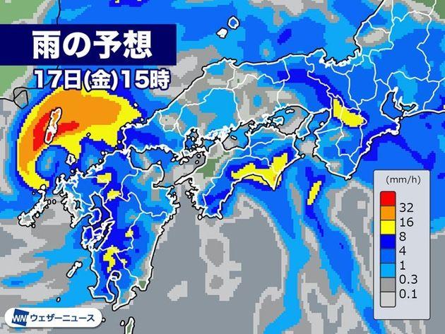 雨の予想 17日(金)15時