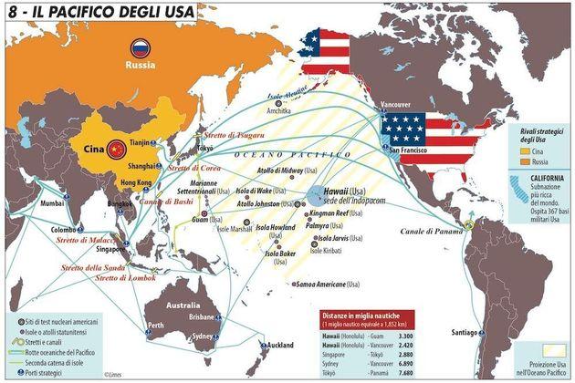 L'ineguagliabile centralità del Pacifico per l'America - Carta di Laura Canali, da