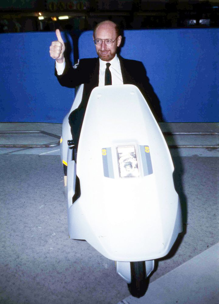 """For many people, Sinclair will be best remembered for that """"quirky"""" Sinclair C5, an ill-fated electric tricycle heralded as the future of eco-friendly transport but which turned out to be an expensive flop."""