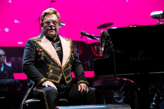 Elton John on stage in