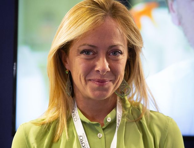 Giorgia Meloni, leader di Fratelli d'Italia, in visita al Cosmoprof di Bologna, Bologna, 10 settembre...
