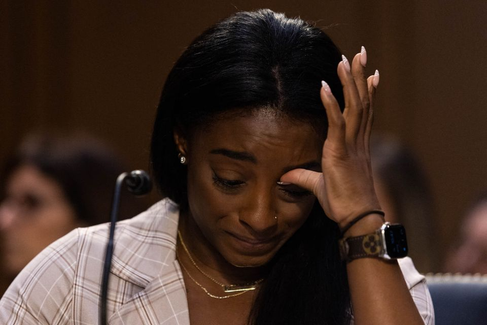 TOPSHOT - United States Olympic gymnast Simone Biles testifies during a Senate Judiciary hearing about the Inspector General's report on the FBI handling of the Larry Nassar investigation of sexual abuse of Olympic gymnasts, on Capitol Hill, September 15, 2021, in Washington, DC. (Photo by Graeme Jennings / POOL / AFP) (Photo by GRAEME JENNINGS/POOL/AFP via Getty Images)