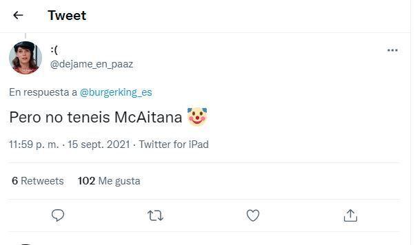 El tuit al que ha respondido Burger
