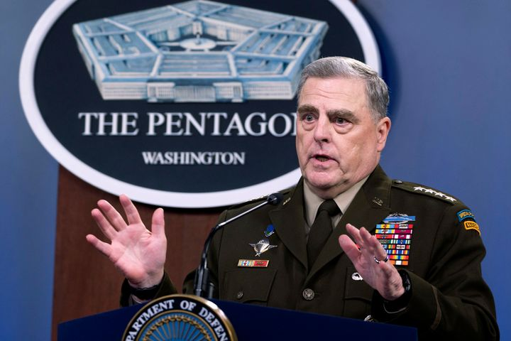 FILE - In this July 21, 2021 file photo, Joint Chiefs Chairman Gen. Mark Milley speaks at a press briefing at the Pentagon in Washington. (AP Photo/Kevin Wolf)