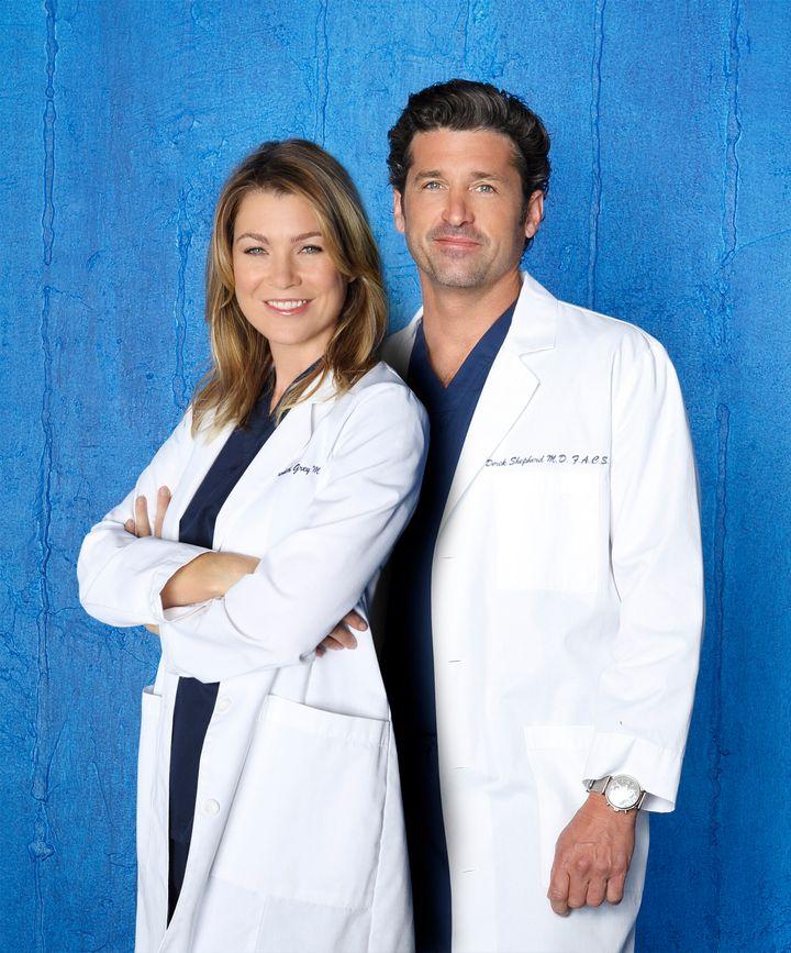 "Ellen Pompeo as Dr. Meredith Grey and Patrick Dempsey as Dr. Derek Shepherd, aka McDreamy, on ""Grey's Anatomy."""