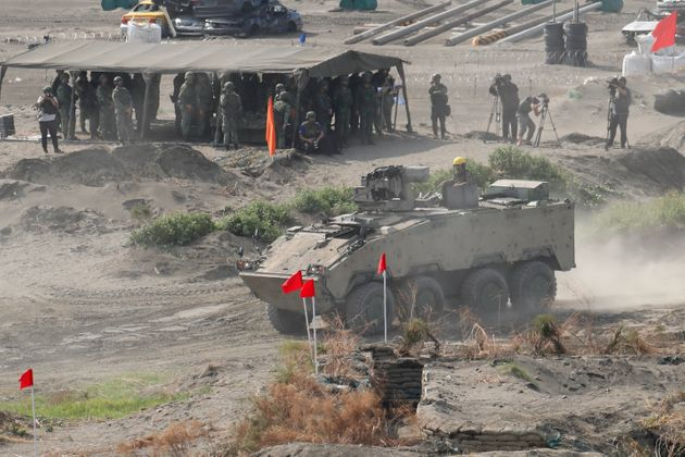 Cm32 armoured vehicles are deployed to carry out a shore defense operation as part of the 37th edition...