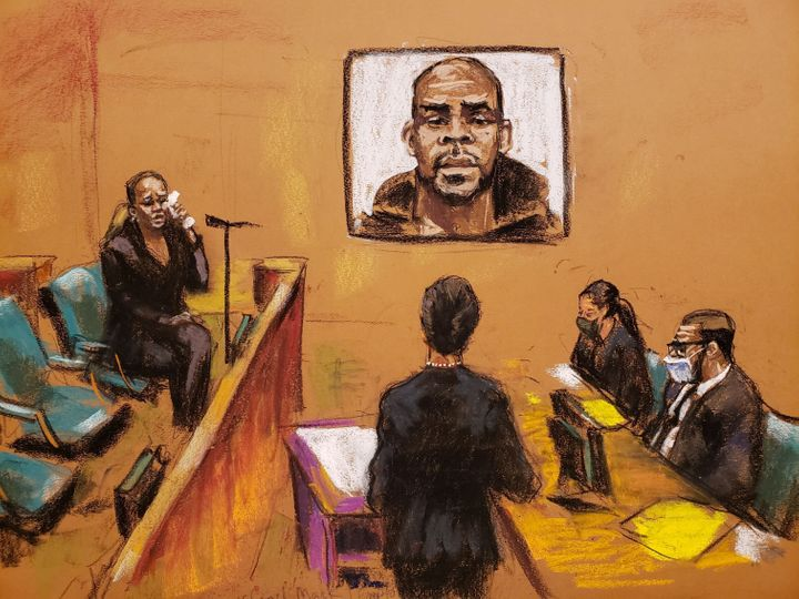 A courtroom sketch shows assistant U.S. Attorney Nadia Shihata questioning Cheryl Mack on Friday.