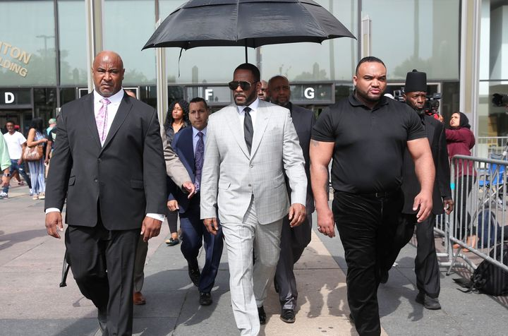 R. Kelly leaves the Criminal Court Building in Chicago after pleading not-guilty during a hearing on 11 new counts of criminal sexual abuse in 2019.