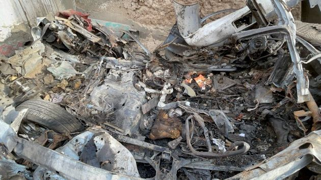 A view of the damage after a drone strike one day before the final US evacuation flights from