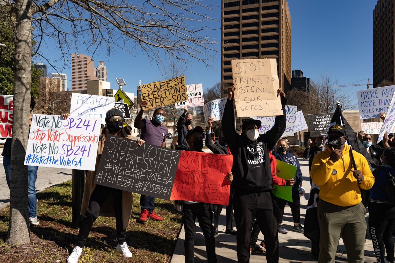 Protesters in Atlanta demonstrated against legislation that added new restrictions on voting to Georgia elections. In March, Republicans, who control the Georgia legislature, made Georgia one of the first states to pass a package of major voting restriction after last November's election.