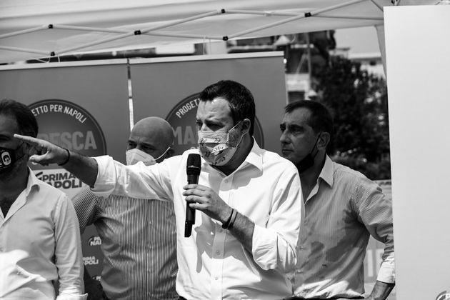 22/07/2021 Napoli, il leader della Lega Matteo Salvini in campagna elettorale a sostegno di Catello Maresca,...