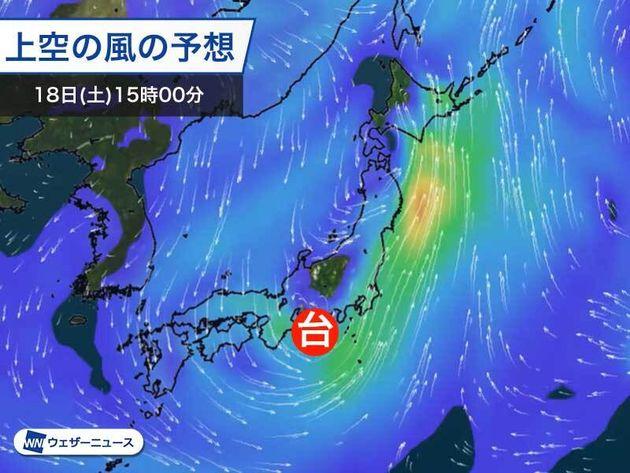 上空の風の予想 18日(土)15時
