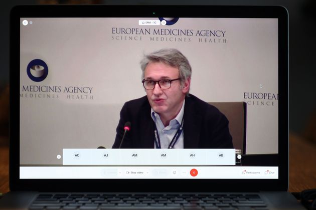 A screen grab from laptop shows Marco Cavaleri, Head of Biological Health Threats and Vaccines Strategy,...