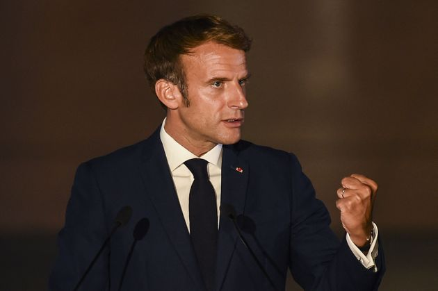 French President Emmanuel Macron delivers a statement during the 8th MED7 Mediterranean countries summit...