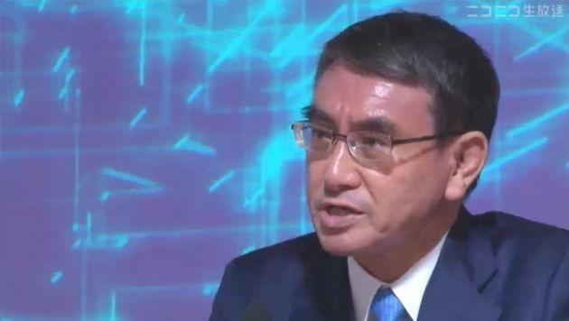 9月18日の候補者ネット討論会で話す河野太郎氏(ニコニコ生放送より)