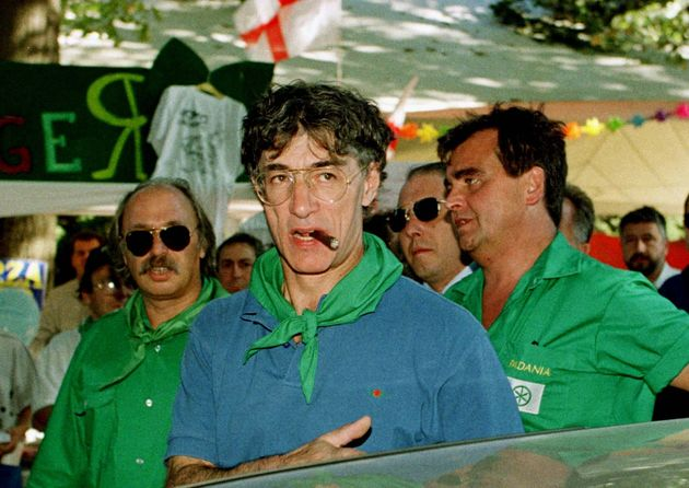 Northern League Leader Umberto Bossi arrives at a rally at one of his stops along the River Po as part...