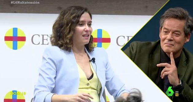 Jorge Sanz observa un vídeo de Isabel Díaz Ayuso en 'LaSexta