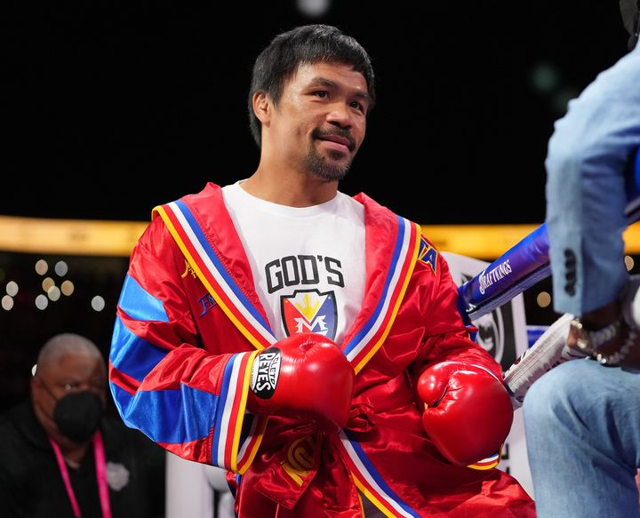 Manny Pacquiao is pictured before the start of a world welterweight championship bout in Las Vegas last month.