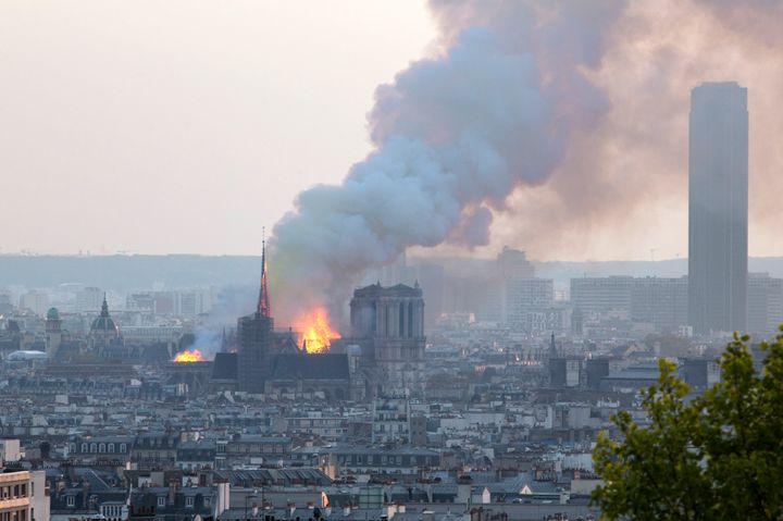 The cathedral is seen burning on April 15, 2019.