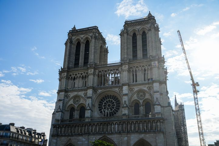 France's Notre Dame Cathedral is seen in Paris on September 18. It took more than two years to stabilize and secure the centuries-old structure after the 2019 fire.