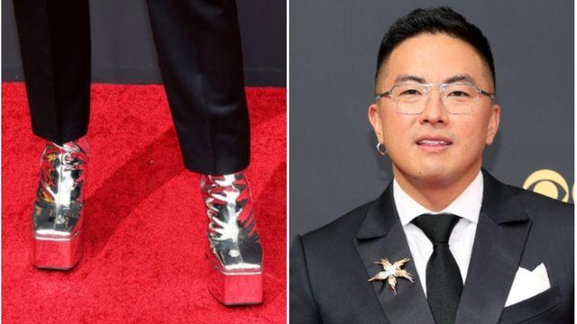 Bowen Yang Sparkles On Emmys Red Carpet In Silver Platform Heels.jpg
