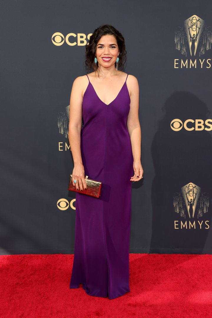 America Ferrera wears a sleek plum gown at the 73rd Primetime Emmy Awards at L.A. Live on Sunday in Los Angeles.