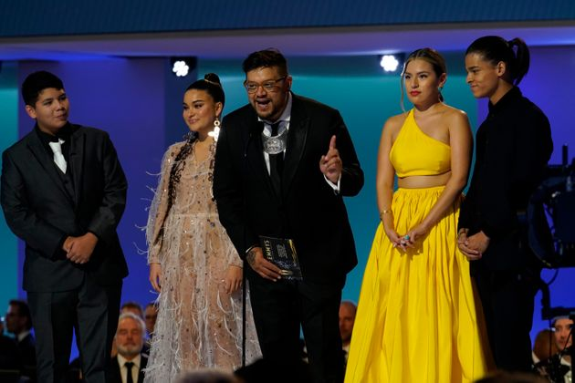 The cast of Reservation Dogs appears at the 73rd Emmy Awards on September