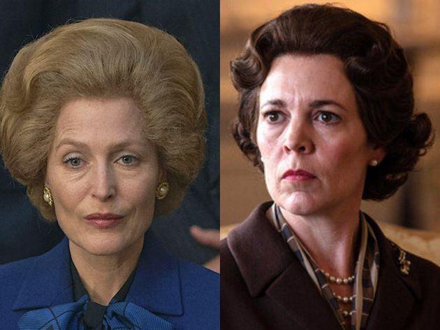 Gillian Anderson, como Margaret Tatcher, y Olivia Colman, como Isabel II, en 'The