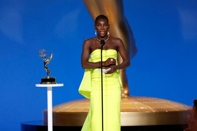 Michaela Coel collecting her award at the 73RD EMMY