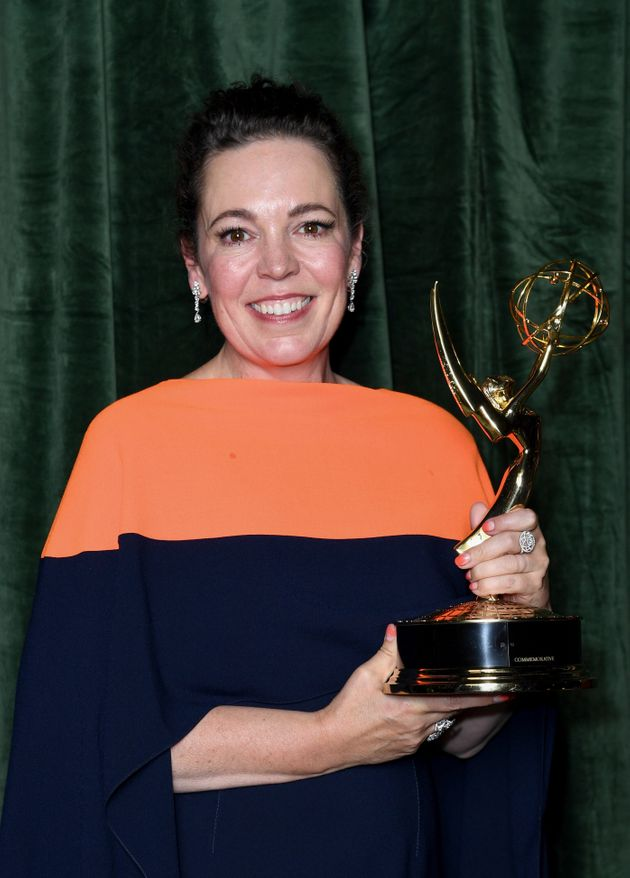 Olivia Colman with her Emmy award for 'Outstanding Lead Actress for a Drama Series', at the The Crown...