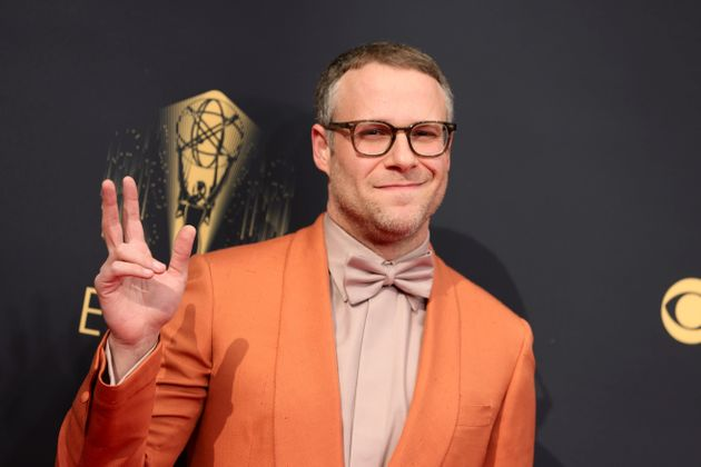 Seth Rogen posing on the Emmys red