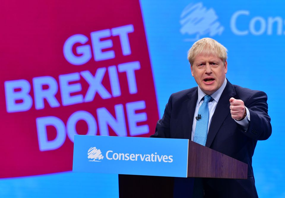 Prime Minister Boris Johnson delivering his keynote speech to the Conservative Party conference in