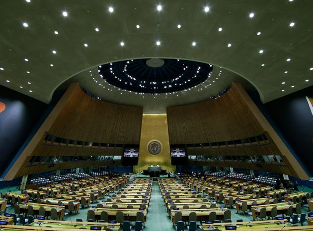 The UN General Assembly Hall is empty before the start of the SDG Moment event as part of the UN General...