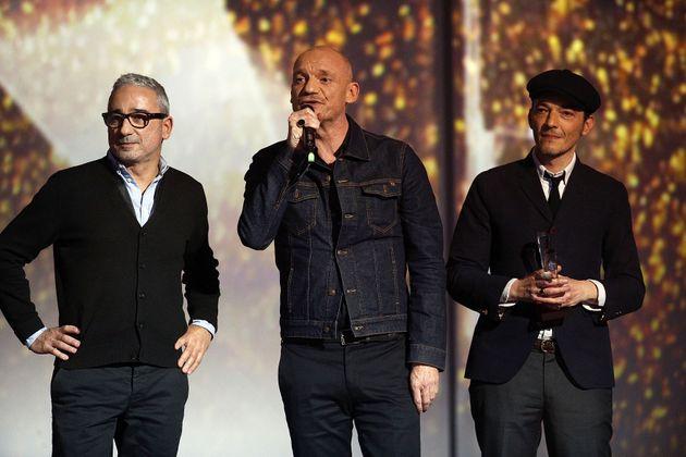Le groupe Louise Attaque (de gauche à droite: Arnaud Samuel, Gaëtan Roussel et Robin Feix)...